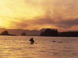 Solo Kayaker Enjoys Sunset, Ketchikan, Alaska, USA Photographic Print by Howie Garber