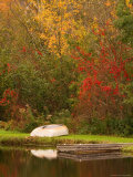 Boat at Pond in Rural New England, Maine, USA Photographic Print by Joanne Wells