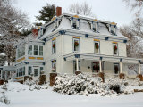 Victorian Home with Snow on Holiday Wreaths, Reading, Massachusetts, USA Photographic Print by Lisa S. Engelbrecht