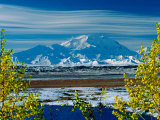 Mt. Denali After First Snowfall of the Summer, Denali National Park, Alaska, USA Photographic Print by Charles Sleicher