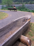 Wooden Dugout Canoe, Clearwater River, Orofino, Lewis and Clark Trail, Idaho, USA Photographic Print by Connie Ricca