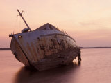 Sunrise on Fishing Boat Washed Ashore During Hurricane Opal, Pensacola Bay, Florida, USA Photographic Print by Maresa Pryor