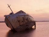 Sunrise on Fishing Boat Washed Ashore During Hurricane Opal, Pensacola Bay, Florida, USA Photographic Print by Maresa Pryor