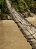 Suspension Bridge on the Nu River, Gongshan County, Yunnan Province, China Photographic Print by Pete Oxford