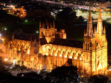 St Mary's Cathedral at Night, Sydney, Australia Photographic Print by David Wall