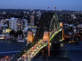 Sydney Harbor Bridge at Night, Sydney, Australia Photographic Print by David Wall