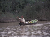 Man with Produce Filled Canoe in Largest Freshwater Lake in Asia, Tonle Sap Lake, Cambodia, Photographic Print