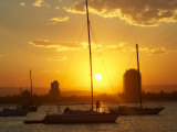 Sunset and Yachts, The Broadwater, Gold Coast, Queensland, Australia Photographic Print by David Wall