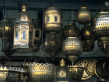 Artwork of Moroccan Brass Lanterns, Casablanca, Morocco Photographic Print by Bill Bachmann