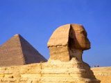 Close-up of the Sphinx and Pyramids of Giza, Egypt Photographic Print by Bill Bachmann