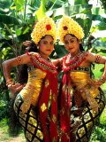 Golden Dancers in Traditional Dress, Bali, Indonesia Photographic Print by Bill Bachmann