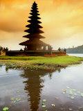 Religious Ulur Danu Temple in Lake Bratan, Bali, Indonesia Photographic Print by Bill Bachmann