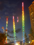 Amusement Park at Night, Surfers Paradise, Gold Coast, Queensland, Australia Photographic Print by David Wall