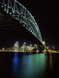 Sydney Harbor Bridge and CBD at Night, Sydney, Australia Photographic Print by David Wall