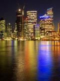 Brisbane River and Brisbane at Night, Queensland, Australia Photographic Print by David Wall