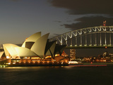 Sydney Opera House and Harbor Bridge at Night, Sydney, Australia Photographic Print by David Wall