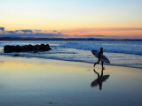 Surfer at Dusk, Gold Coast, Queensland, Australia Photographic Print by David Wall