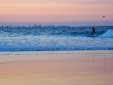 Surfers at Dusk, Gold Coast, Queensland, Australia Photographic Print by David Wall