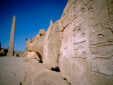 Hieroglyphic Covered Ruins with Obelisk in Distance, Karnak, Luxor, Egypt Photographic Print by Cindy Miller Hopkins
