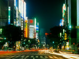 Expensive Shopping District with Night Traffic, Ginza Area, Tokyo, Japan Photographic Print by Bill Bachmann