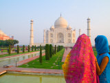 Hindu Women with Colorful Veils at the Taj Mahal, Agra, India Photographic Print by Bill Bachmann