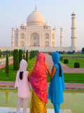 Hindu Women with Veils in the Taj Mahal, Agra, India Photographic Print by Bill Bachmann