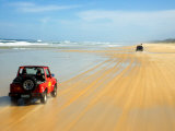 Four Wheel Drives, Seventy Five Mile Beach, Fraser Island, Queensland, Australia Photographic Print by David Wall