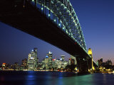 Sydney Harbor Bridge and CBD at Dusk, Sydney, Australia Photographic Print by David Wall