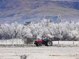 Tractor and Hoar Frost, Sutton, Otago, South Island, New Zealand Photographic Print by David Wall
