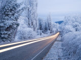 Road and Hoar Frost, Fruitlands, near Alexandra, Central Otago, South Island, New Zealand Photographic Print by David Wall