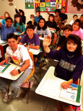 Students Raising Hands in 8th Grade Math Class Photographic Print by Bill Bachmann