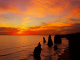 Sunset, Twelve Apostles, Port Campbell National Park, Great Ocean Road, Victoria, Australia Photographic Print by David Wall