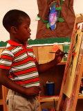 Student in Kindergarten Art Class Photographic Print by Bill Bachmann