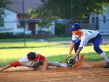 Baseball Player Sliding into Base Photographic Print by Bill Bachmann