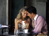 Young Couple Talking in Cafe Photographic Print by Bill Bachmann