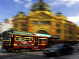 Tram and Flinders Street Station, Melbourne, Victoria, Australia Photographic Print by David Wall