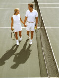 Middle-Aged Couple Relaxing after Tennis Match Photographic Print by Bill Bachmann