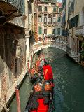 Gondolas along Canal, Venice, Italy Photographic Print by Lisa S. Engelbrecht