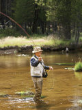 Retired Man Fly-Fishing Photographic Print by Bill Bachmann