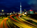 Motorways and Skytower, Auckland Photographic Print by David Wall