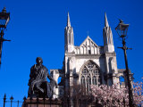 St Pauls Cathedral and Robert Burns Statue, Octagon, Dunedin, New Zealand Photographic Print by David Wall