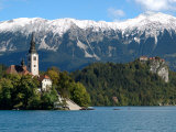 Bled Castle and Julian Alps, Lake Bled, Bled Island, Slovenia Photographic Print by Lisa S. Engelbrecht