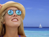 Woman in Caribbean with Palm Trees Reflected in Sunglasses Photographic Print by Bill Bachmann