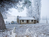 Old Sod Cottage and Hoar Frost, Fruitlands, Central Otago, South Island, New Zealand Photographic Print by David Wall
