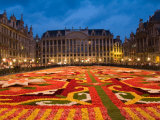 Night View of the Grand Place with Flower Carpet and Ornate Buildings, Brussels, Belgium Photographic Print by Bill Bachmann