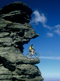 Mountain Biker and Rock Tor, Dunstan Mountains, Central Otago Photographic Print by David Wall