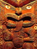 Historic Maori Carving, Otago Museum, New Zealand Photographic Print by David Wall