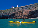 Sea Kayak and Taiaroa Head Lighthouse, near Dunedin, New Zealand Photographic Print by David Wall