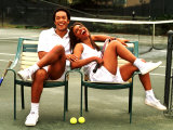 Healthy African American Couple Relaxing on Tennis Court Photographic Print by Bill Bachmann
