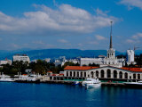 Black Sea Port Located at Base of the Caucasus Mountain, Port of Sochi, Sochi, Russia Fotografisk tryk af Cindy Miller Hopkins